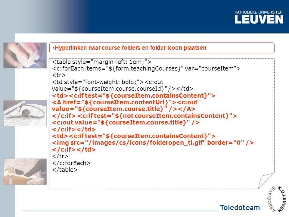 Toledoteam Hyperlinken naar course folders en folder icoon plaatsen <c:out value= ${courseItem.course.courseId} /> <c:out value= ${courseItem.course.title} />