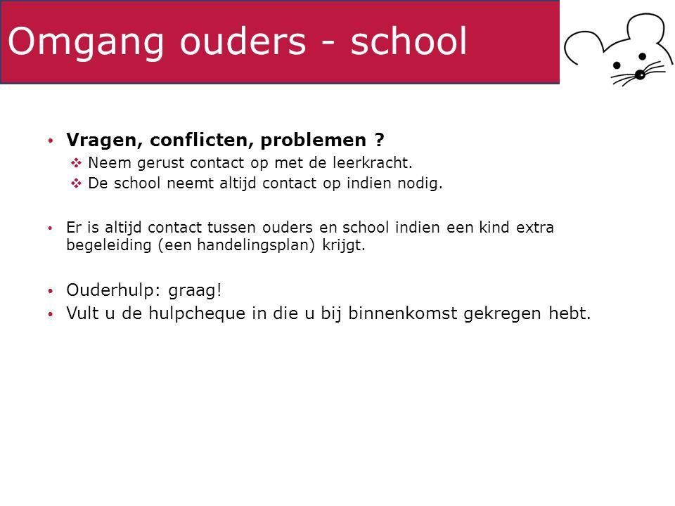 Omgang ouders - school Vragen, conflicten, problemen ?  Neem gerust contact op met de leerkracht.  De school neemt altijd contact op indien nodig. E