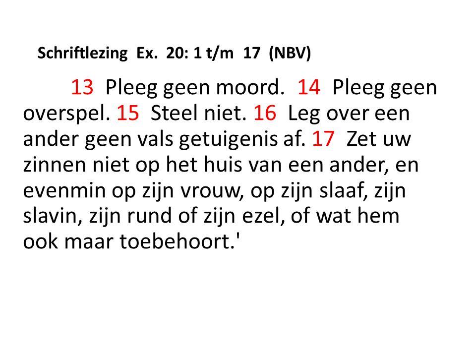 Schriftlezing Ex. 20: 1 t/m 17 (NBV) 13 Pleeg geen moord.