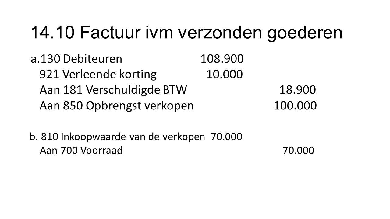 14.10 Factuur ivm verzonden goederen a.130 Debiteuren 108.900 921 Verleende korting10.000 Aan 181 Verschuldigde BTW 18.900 Aan 850 Opbrengst verkopen 100.000 b.