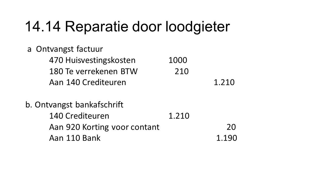 14.14 Reparatie door loodgieter a Ontvangst factuur 470 Huisvestingskosten1000 180 Te verrekenen BTW 210 Aan 140 Crediteuren 1.210 b.