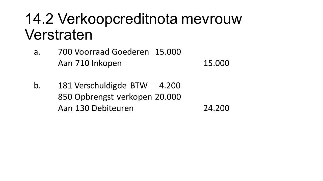 14.2 Verkoopcreditnota mevrouw Verstraten a.700 Voorraad Goederen15.000 Aan 710 Inkopen15.000 b.181 Verschuldigde BTW 4.200 850 Opbrengst verkopen 20.000 Aan 130 Debiteuren24.200