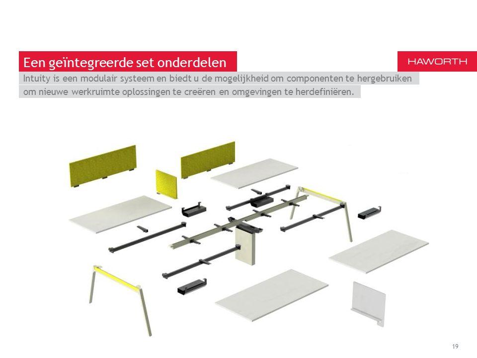 March 13th 2014 | Berlin 19 Een geïntegreerde set onderdelen Intuity is een modulair systeem en biedt u de mogelijkheid om componenten te hergebruiken om nieuwe werkruimte oplossingen te creëren en omgevingen te herdefiniëren.