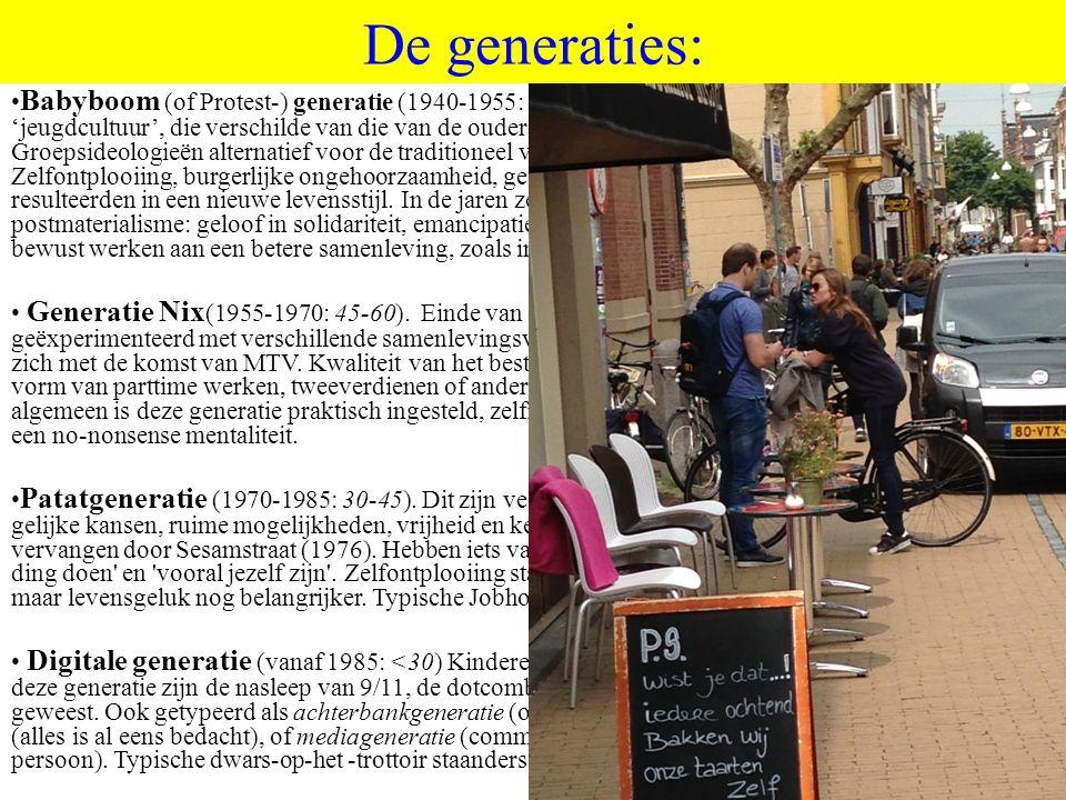 ©HvdS 2015 De generaties: Babyboom (of Protest-) generatie (1940-1955: 60-75).