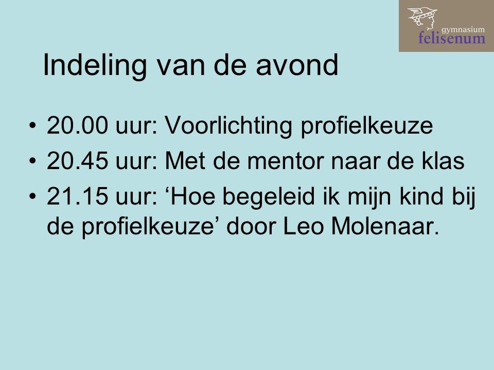Indeling van de avond 20.00 uur: Voorlichting profielkeuze 20.45 uur: Met de mentor naar de klas 21.15 uur: 'Hoe begeleid ik mijn kind bij de profielkeuze' door Leo Molenaar.