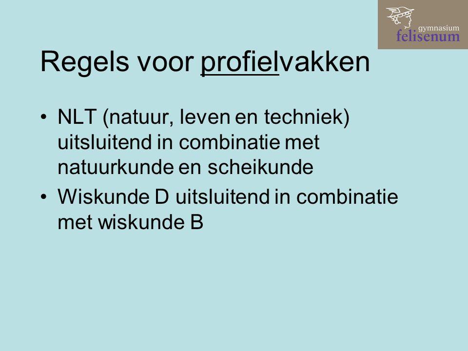 Regels voor profielvakken NLT (natuur, leven en techniek) uitsluitend in combinatie met natuurkunde en scheikunde Wiskunde D uitsluitend in combinatie