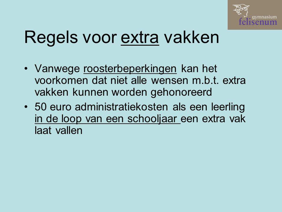 Regels voor extra vakken Vanwege roosterbeperkingen kan het voorkomen dat niet alle wensen m.b.t. extra vakken kunnen worden gehonoreerd 50 euro admin