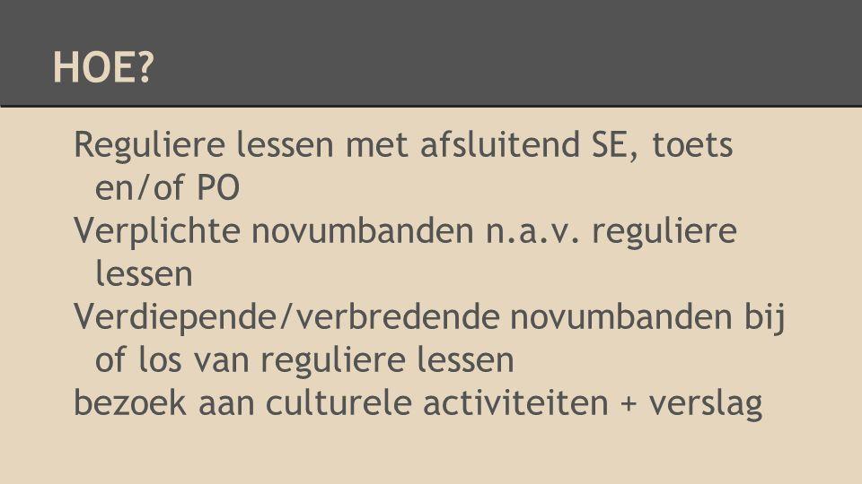 HOE. Reguliere lessen met afsluitend SE, toets en/of PO Verplichte novumbanden n.a.v.