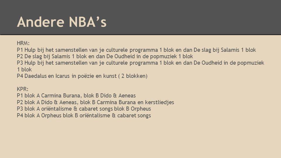 Andere NBA's HRM: P1 Hulp bij het samenstellen van je culturele programma 1 blok en dan De slag bij Salamis 1 blok P2 De slag bij Salamis 1 blok en da