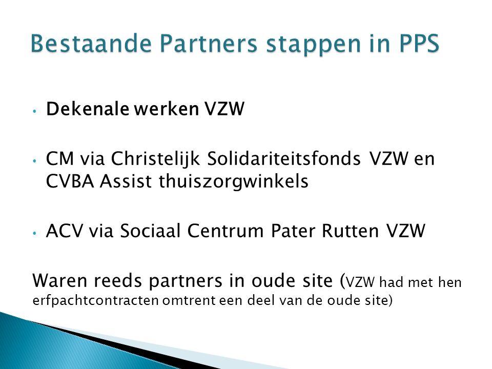 Dekenale werken VZW CM via Christelijk Solidariteitsfonds VZW en CVBA Assist thuiszorgwinkels ACV via Sociaal Centrum Pater Rutten VZW Waren reeds partners in oude site ( VZW had met hen erfpachtcontracten omtrent een deel van de oude site)