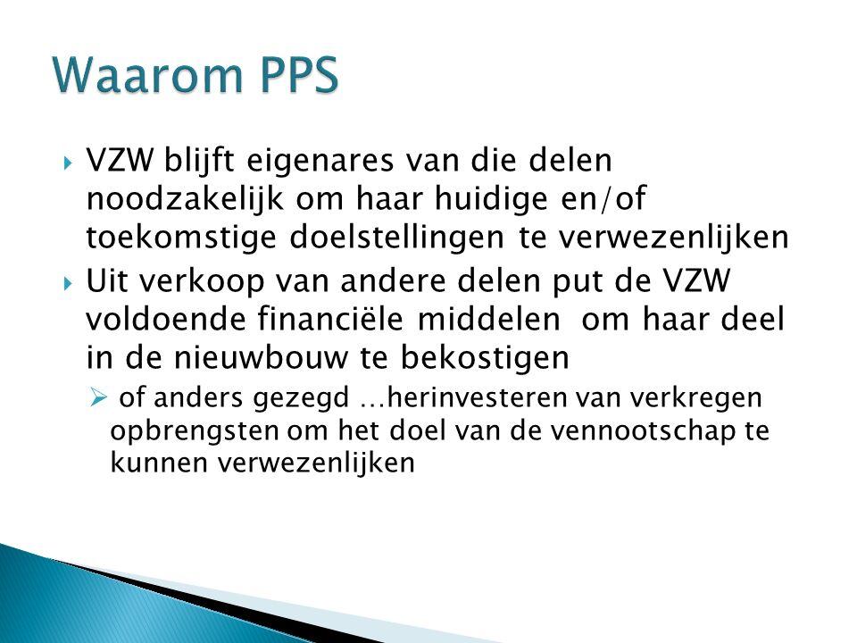  VZW blijft eigenares van die delen noodzakelijk om haar huidige en/of toekomstige doelstellingen te verwezenlijken  Uit verkoop van andere delen pu