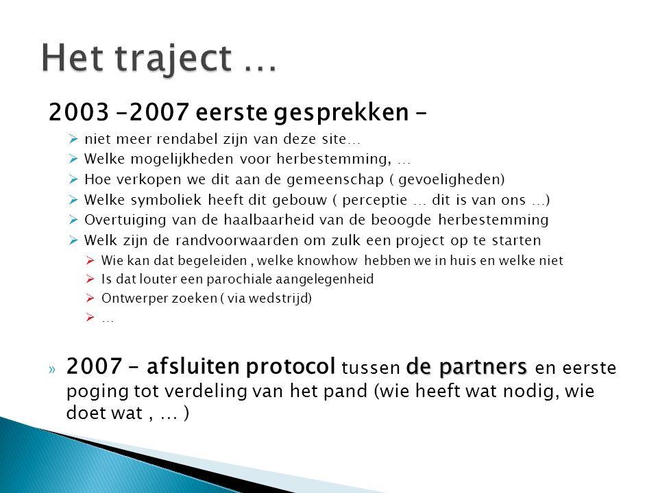 2003 –2007 eerste gesprekken –  niet meer rendabel zijn van deze site…  Welke mogelijkheden voor herbestemming, …  Hoe verkopen we dit aan de gemee