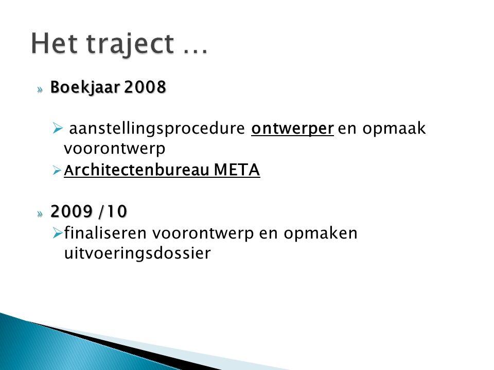 » Boekjaar 2008  aanstellingsprocedure ontwerper en opmaak voorontwerp  A rchitectenbureau META » 2009 /10  finaliseren voorontwerp en opmaken uitvoeringsdossier
