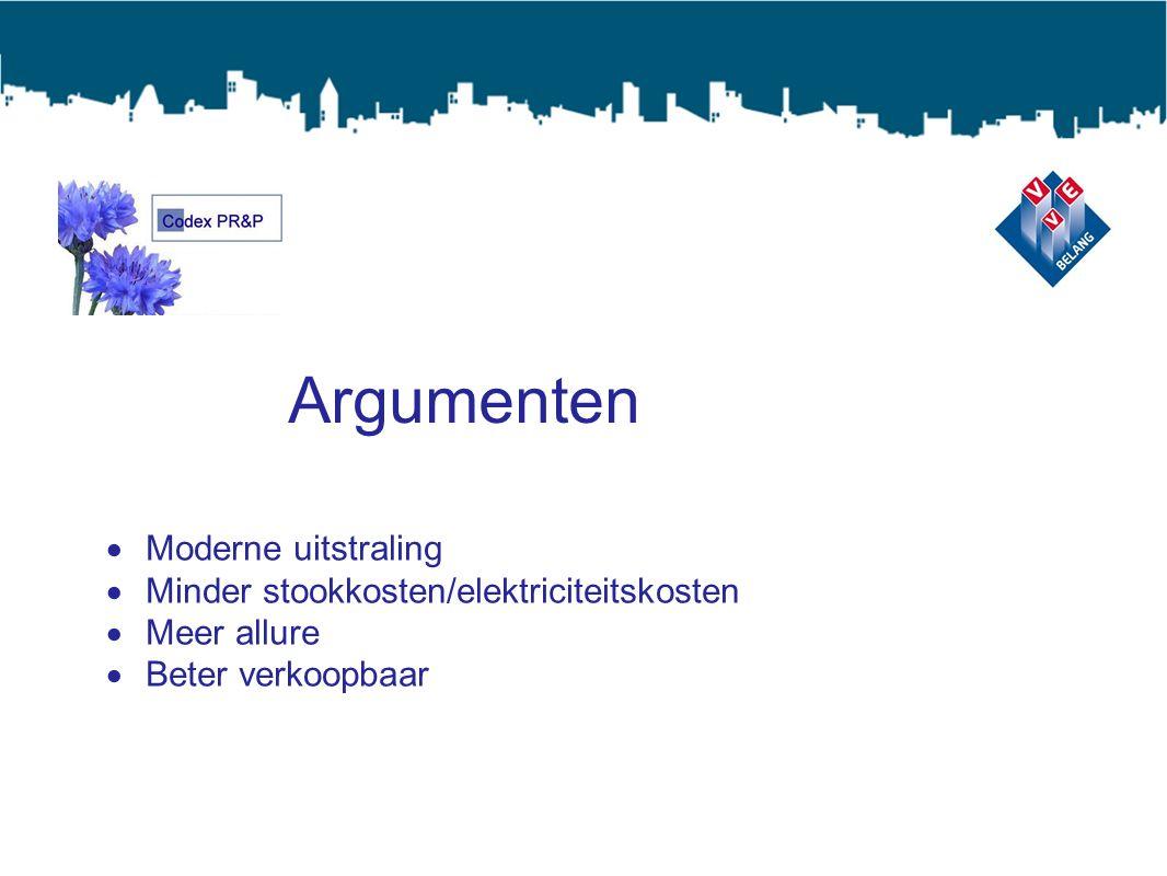 Argumenten  Moderne uitstraling  Minder stookkosten/elektriciteitskosten  Meer allure  Beter verkoopbaar