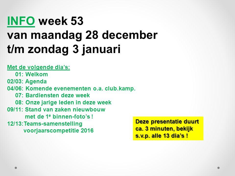 INFO week 53 van maandag 28 december t/m zondag 3 januari Met de volgende dia's: 01: Welkom 02/03: Agenda 04/06: Komende evenementen o.a.