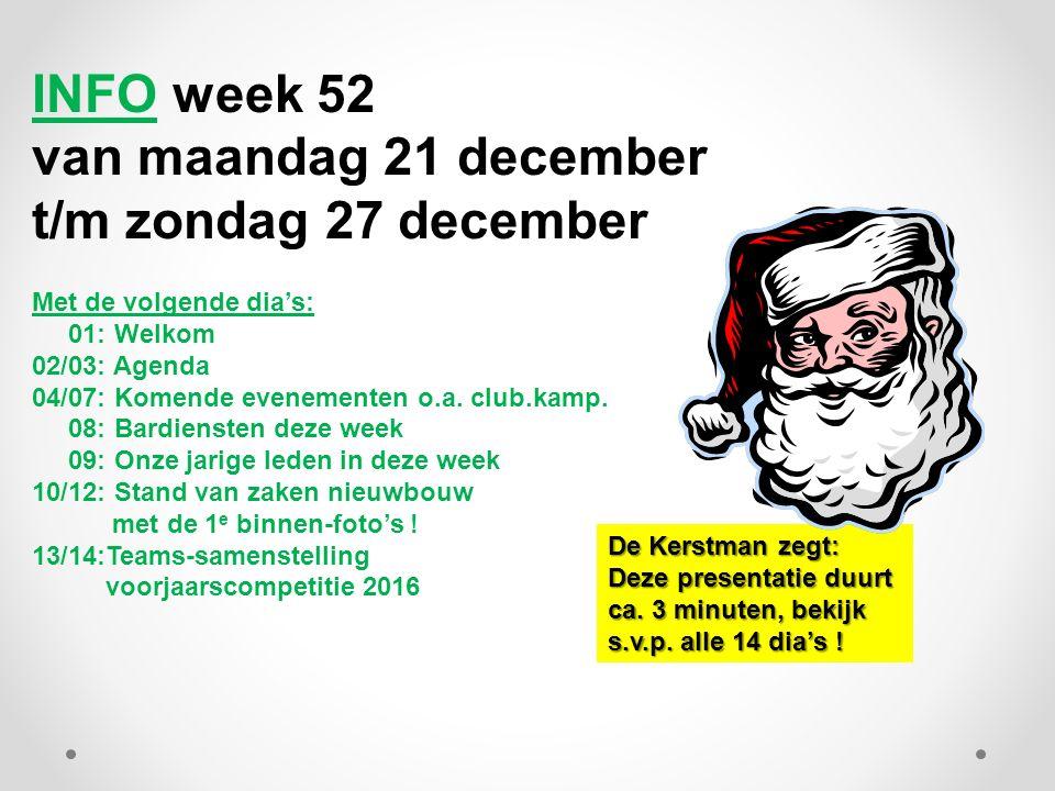 INFO week 52 van maandag 21 december t/m zondag 27 december Met de volgende dia's: 01: Welkom 02/03: Agenda 04/07: Komende evenementen o.a.