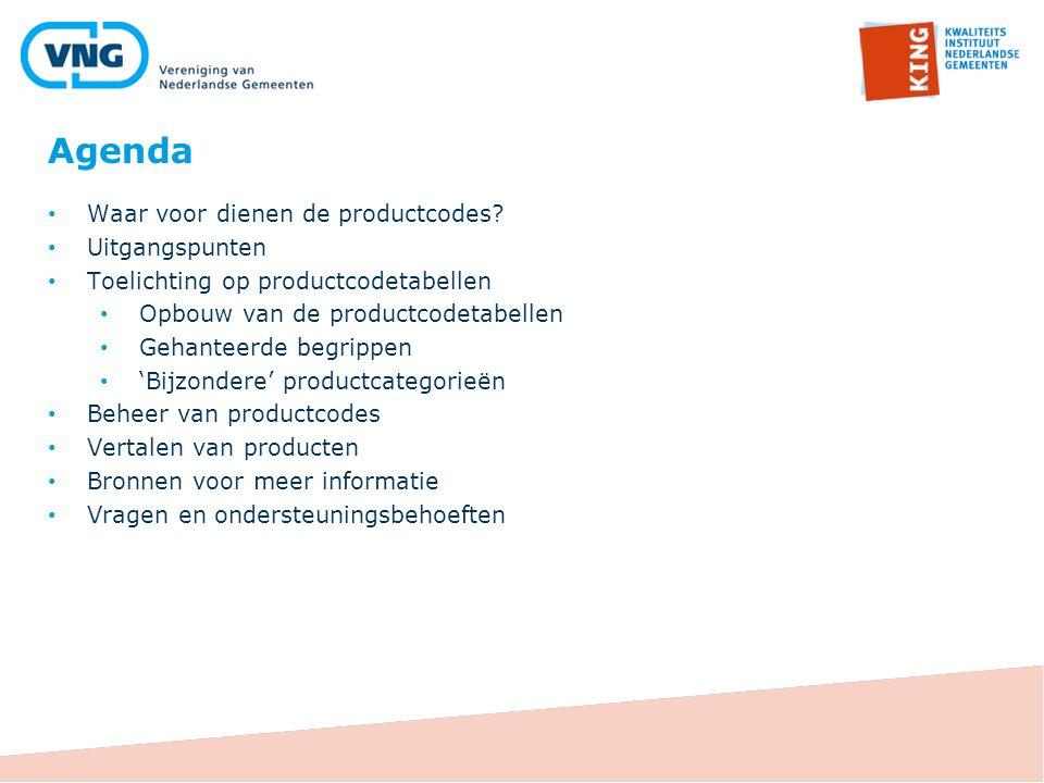 Agenda Waar voor dienen de productcodes? Uitgangspunten Toelichting op productcodetabellen Opbouw van de productcodetabellen Gehanteerde begrippen 'Bi