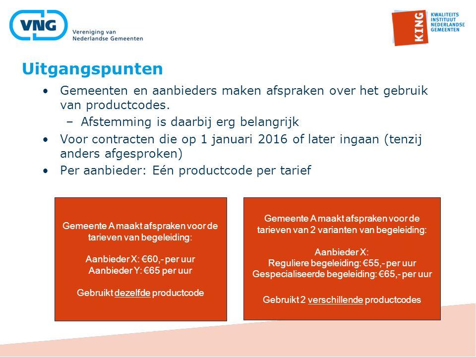 Gemeenten en aanbieders maken afspraken over het gebruik van productcodes. –Afstemming is daarbij erg belangrijk Voor contracten die op 1 januari 2016