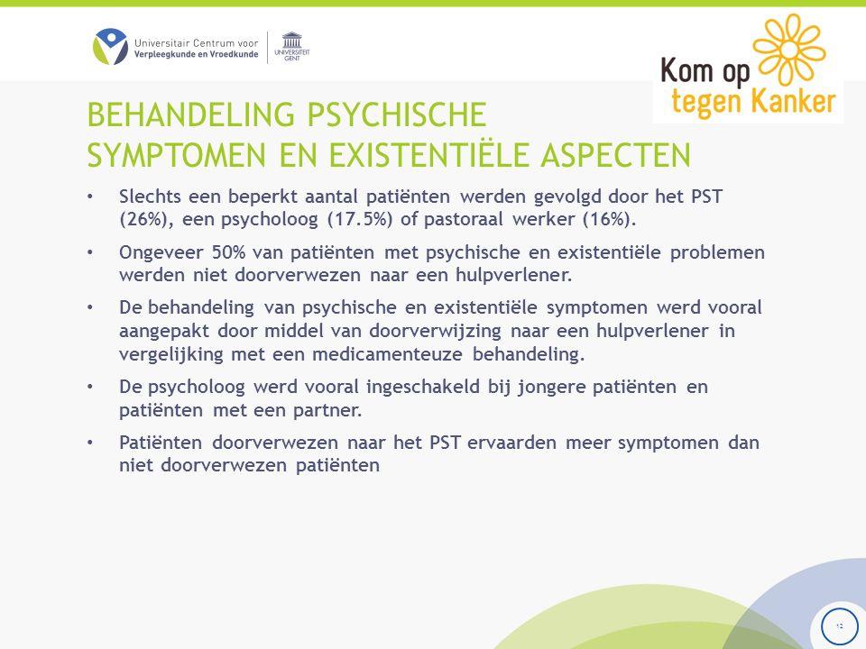 BEHANDELING PSYCHISCHE SYMPTOMEN EN EXISTENTIËLE ASPECTEN Slechts een beperkt aantal patiënten werden gevolgd door het PST (26%), een psycholoog (17.5