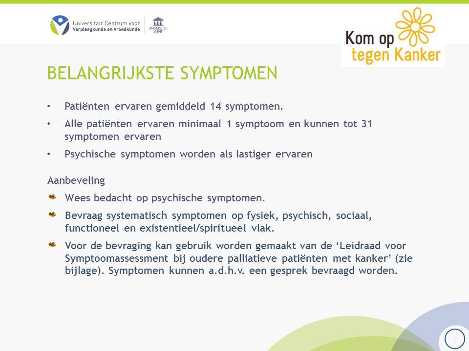 BELANGRIJKSTE SYMPTOMEN Patiënten ervaren gemiddeld 14 symptomen. Alle patiënten ervaren minimaal 1 symptoom en kunnen tot 31 symptomen ervaren Psychi