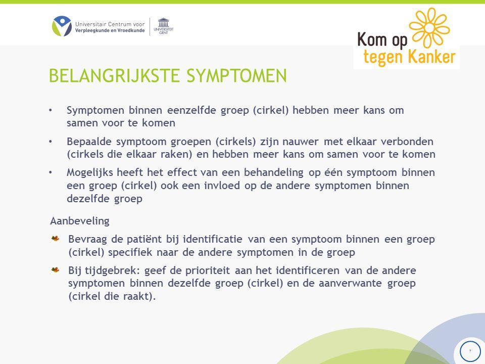BELANGRIJKSTE SYMPTOMEN Symptomen binnen eenzelfde groep (cirkel) hebben meer kans om samen voor te komen Bepaalde symptoom groepen (cirkels) zijn nau