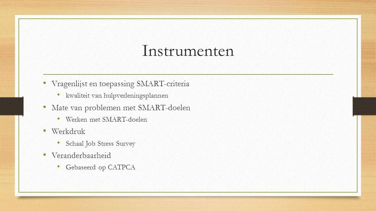 Instrumenten Vragenlijst en toepassing SMART-criteria kwaliteit van hulpverleningsplannen Mate van problemen met SMART-doelen Werken met SMART-doelen
