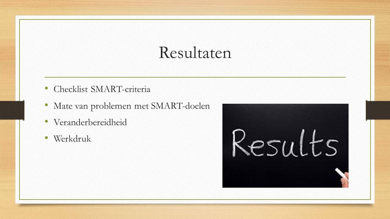Resultaten Checklist SMART-criteria Mate van problemen met SMART-doelen Veranderbereidheid Werkdruk