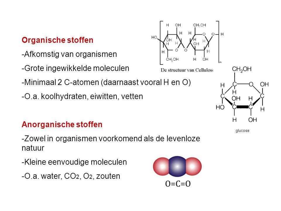 Organische stoffen -Afkomstig van organismen -Grote ingewikkelde moleculen -Minimaal 2 C-atomen (daarnaast vooral H en O) -O.a. koolhydraten, eiwitten