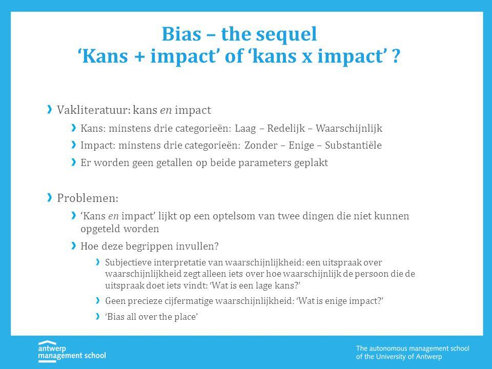 Bias – the sequel 'Kans + impact' of 'kans x impact' ? Vakliteratuur: kans en impact Kans: minstens drie categorieën: Laag – Redelijk – Waarschijnlijk
