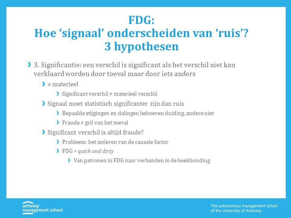 FDG: Hoe 'signaal' onderscheiden van 'ruis'? 3 hypothesen 3. Significantie: een verschil is significant als het verschil niet kan verklaard worden doo