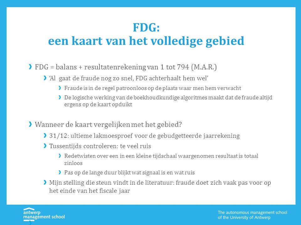 FDG: een kaart van het volledige gebied FDG = balans + resultatenrekening van 1 tot 794 (M.A.R.) 'Al gaat de fraude nog zo snel, FDG achterhaalt hem w