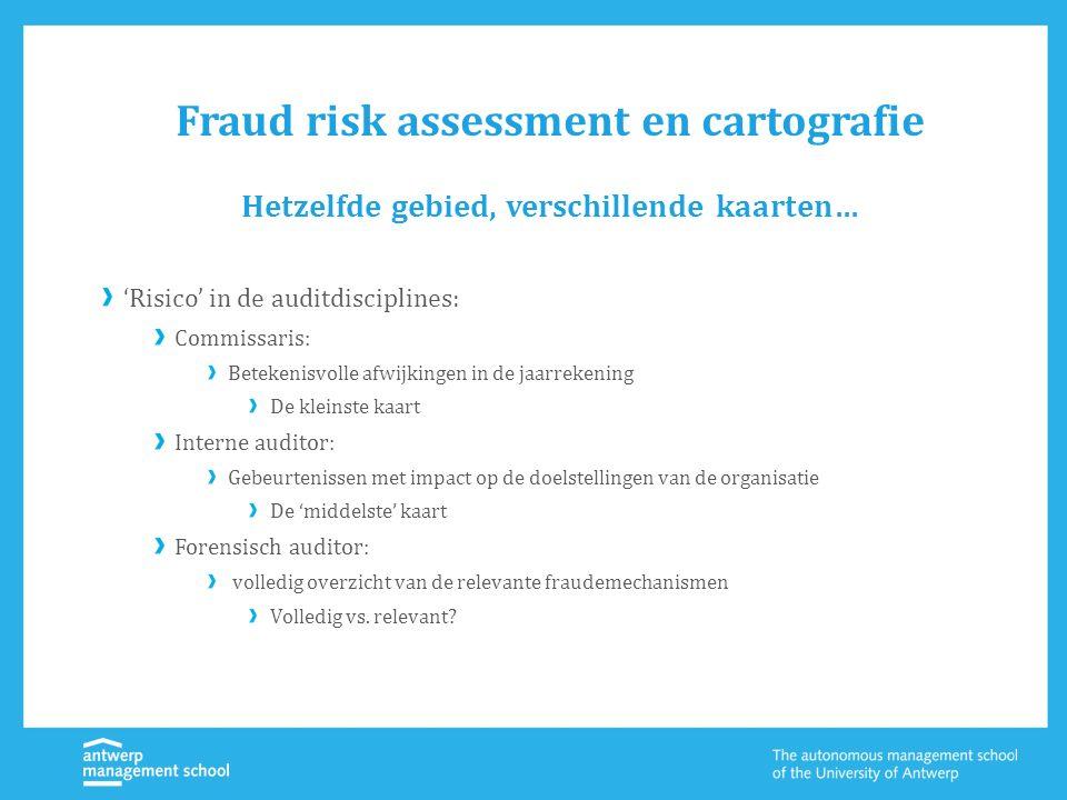 Fraud risk assessment en cartografie 'Risico' in de auditdisciplines: Commissaris: Betekenisvolle afwijkingen in de jaarrekening De kleinste kaart Int