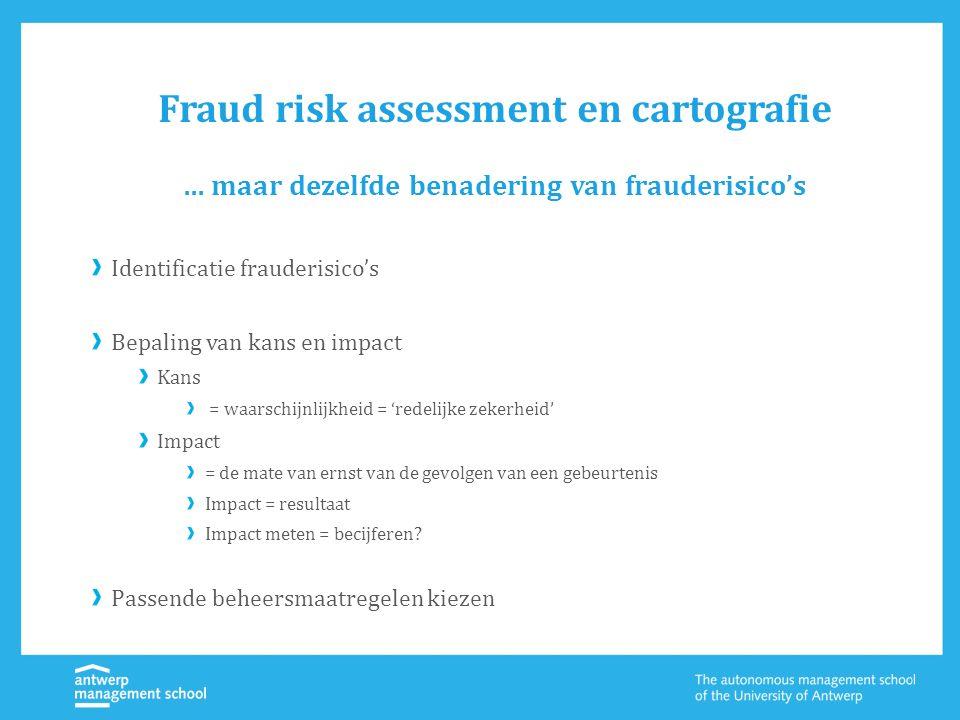 Fraud risk assessment en cartografie Identificatie frauderisico's Bepaling van kans en impact Kans = waarschijnlijkheid = 'redelijke zekerheid' Impact = de mate van ernst van de gevolgen van een gebeurtenis Impact = resultaat Impact meten = becijferen.