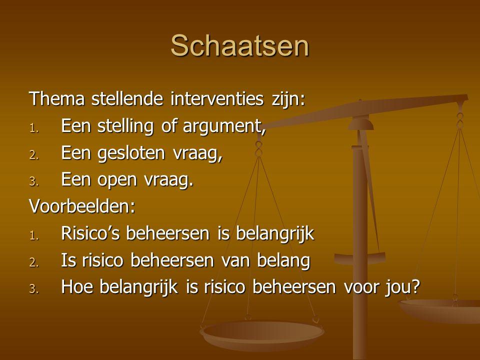 Schaatsen Thema stellende interventies zijn: 1. Een stelling of argument, 2. Een gesloten vraag, 3. Een open vraag. Voorbeelden: 1. Risico's beheersen