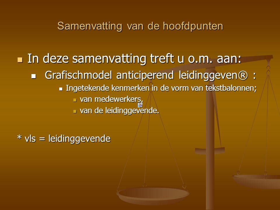 Van Situationeel leidinggeven II naar anticiperend leidingeven® In de volgende slides tref je eerst de grafische modellen aan.