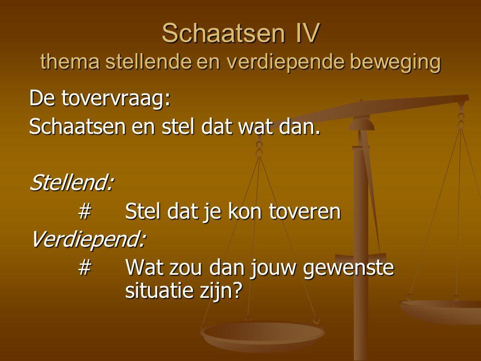 Schaatsen IV thema stellende en verdiepende beweging De tovervraag: Schaatsen en stel dat wat dan. Stellend: #Stel dat je kon toveren Verdiepend: #Wat