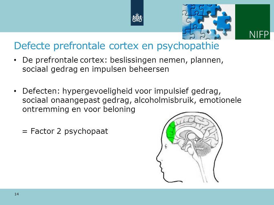 Defecte prefrontale cortex en psychopathie De prefrontale cortex: beslissingen nemen, plannen, sociaal gedrag en impulsen beheersen Defecten: hypergevoeligheid voor impulsief gedrag, sociaal onaangepast gedrag, alcoholmisbruik, emotionele ontremming en voor beloning = Factor 2 psychopaat 14