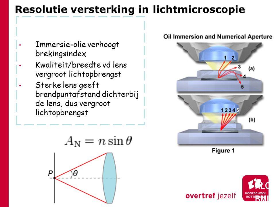 Resolutie versterking in lichtmicroscopie Immersie-olie verhoogt brekingsindex Kwaliteit/breedte vd lens vergroot lichtopbrengst Sterke lens geeft brandpuntafstand dichterbij de lens, dus vergroot lichtopbrengst HLO BML