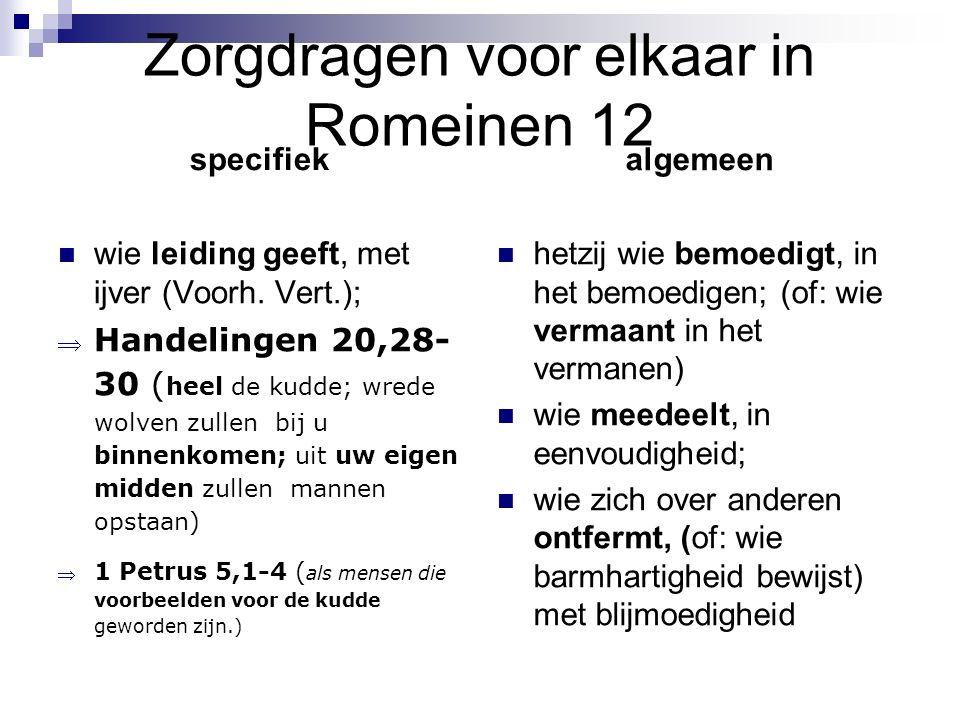 Zorgdragen voor elkaar in Romeinen 12 specifiek wie leiding geeft, met ijver (Voorh. Vert.);  Handelingen 20,28- 30 ( heel de kudde; wrede wolven zul