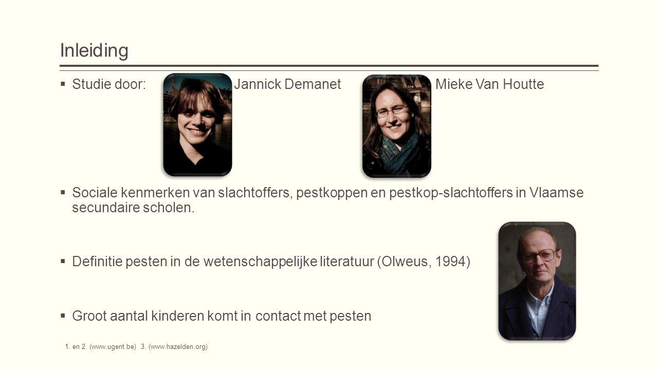 Inleiding  Studie door: Jannick Demanet Mieke Van Houtte  Sociale kenmerken van slachtoffers, pestkoppen en pestkop-slachtoffers in Vlaamse secundaire scholen.