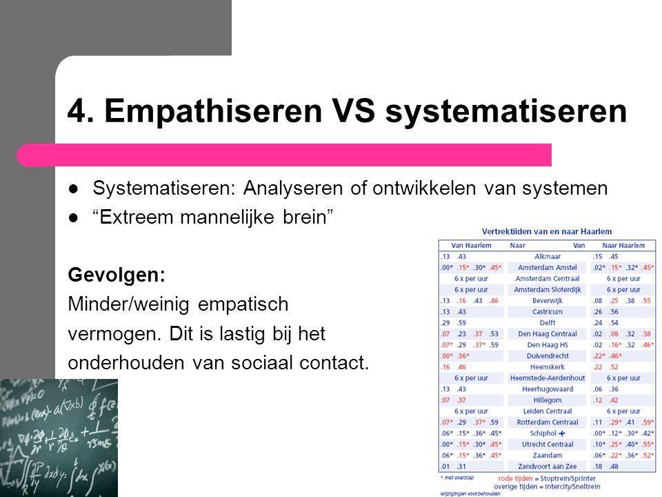 """4. Empathiseren VS systematiseren Systematiseren: Analyseren of ontwikkelen van systemen """"Extreem mannelijke brein"""" Gevolgen: Minder/weinig empatisch"""