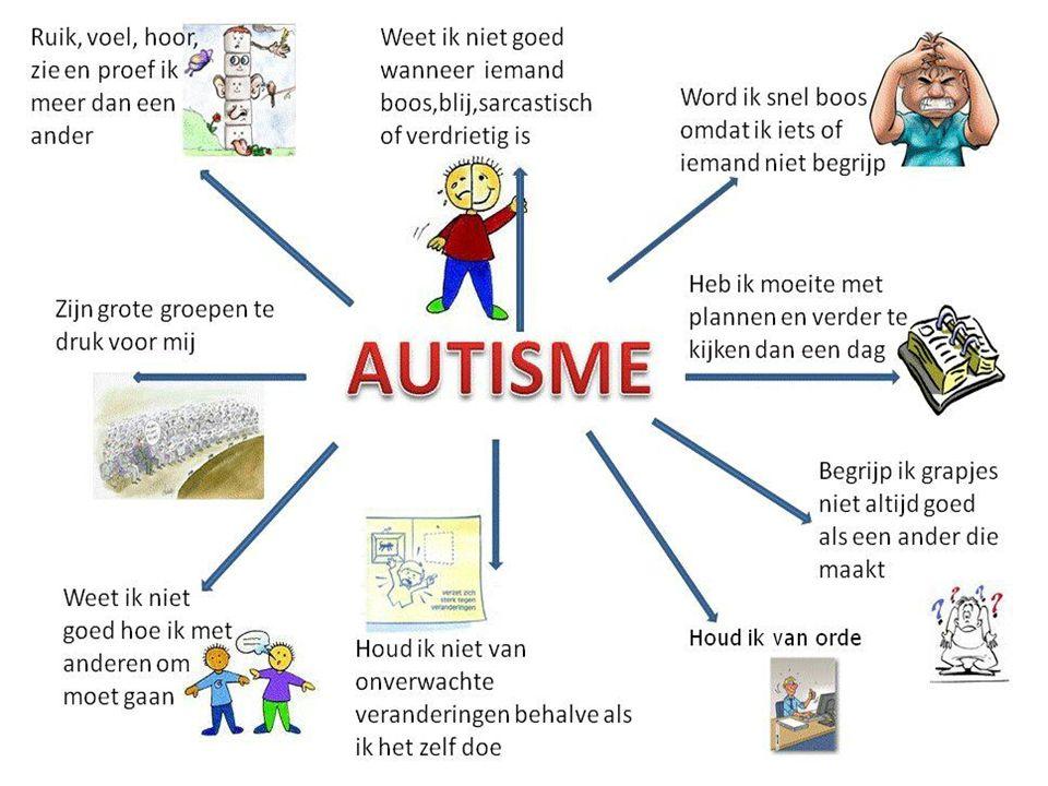 Syndroom van Asperger 'Hoogfunctionerend autisme' Vooral gekenmerkt door gebrekkig kunnen inschatten van sociale interactie, Normale en vaak boven gemiddelde intelligentie Normale taalontwikkeling die niet verstoord of vertraagd is.