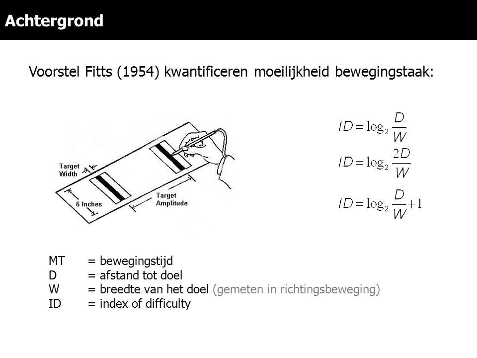 Achtergrond MT= bewegingstijd D= afstand tot doel W= breedte van het doel (gemeten in richtingsbeweging) ID= index of difficulty Voorstel Fitts (1954) kwantificeren moeilijkheid bewegingstaak:
