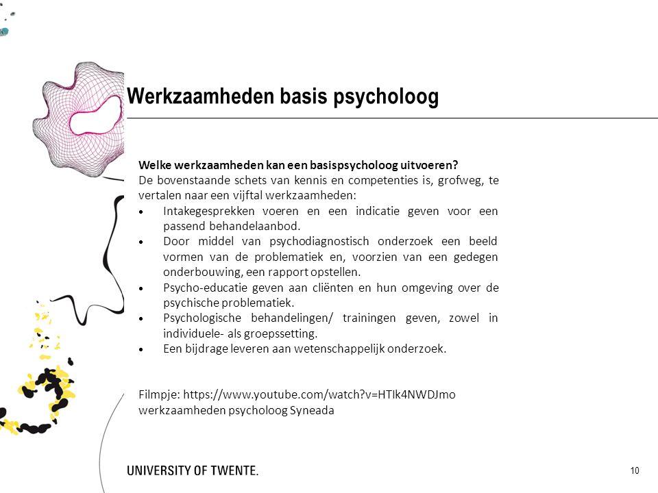 Werkzaamheden basis psycholoog 10 Welke werkzaamheden kan een basispsycholoog uitvoeren? De bovenstaande schets van kennis en competenties is, grofweg