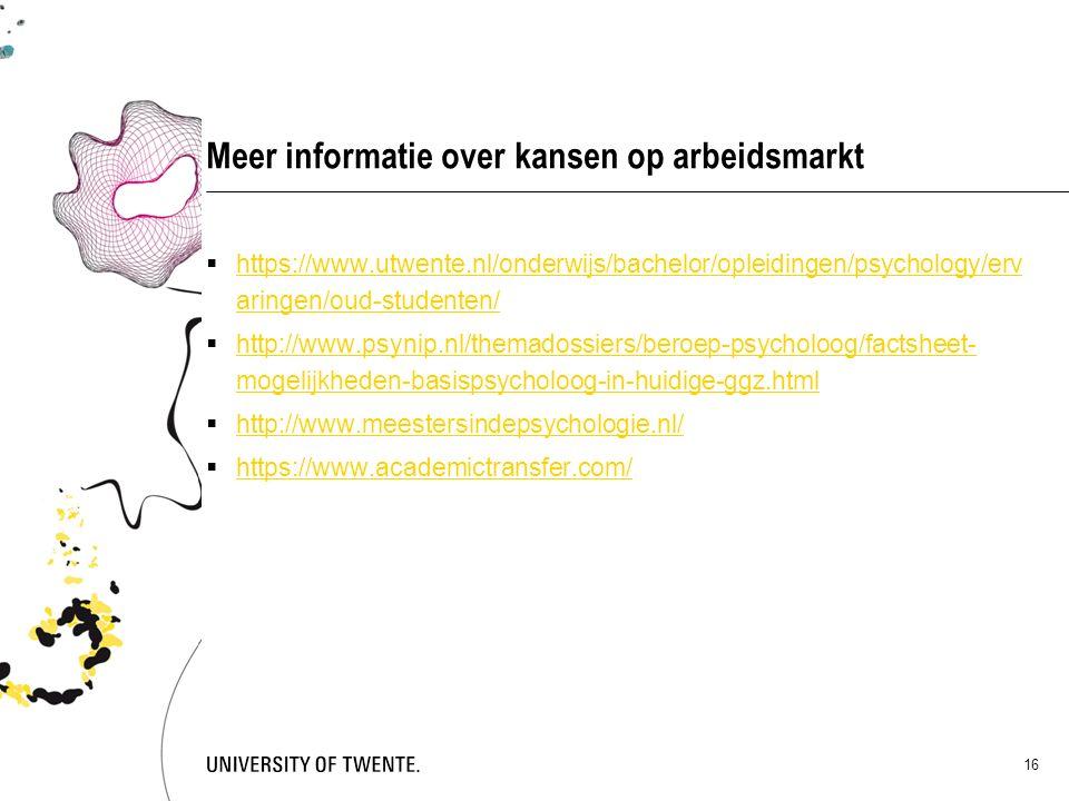 Meer informatie over kansen op arbeidsmarkt  https://www.utwente.nl/onderwijs/bachelor/opleidingen/psychology/erv aringen/oud-studenten/ https://www.