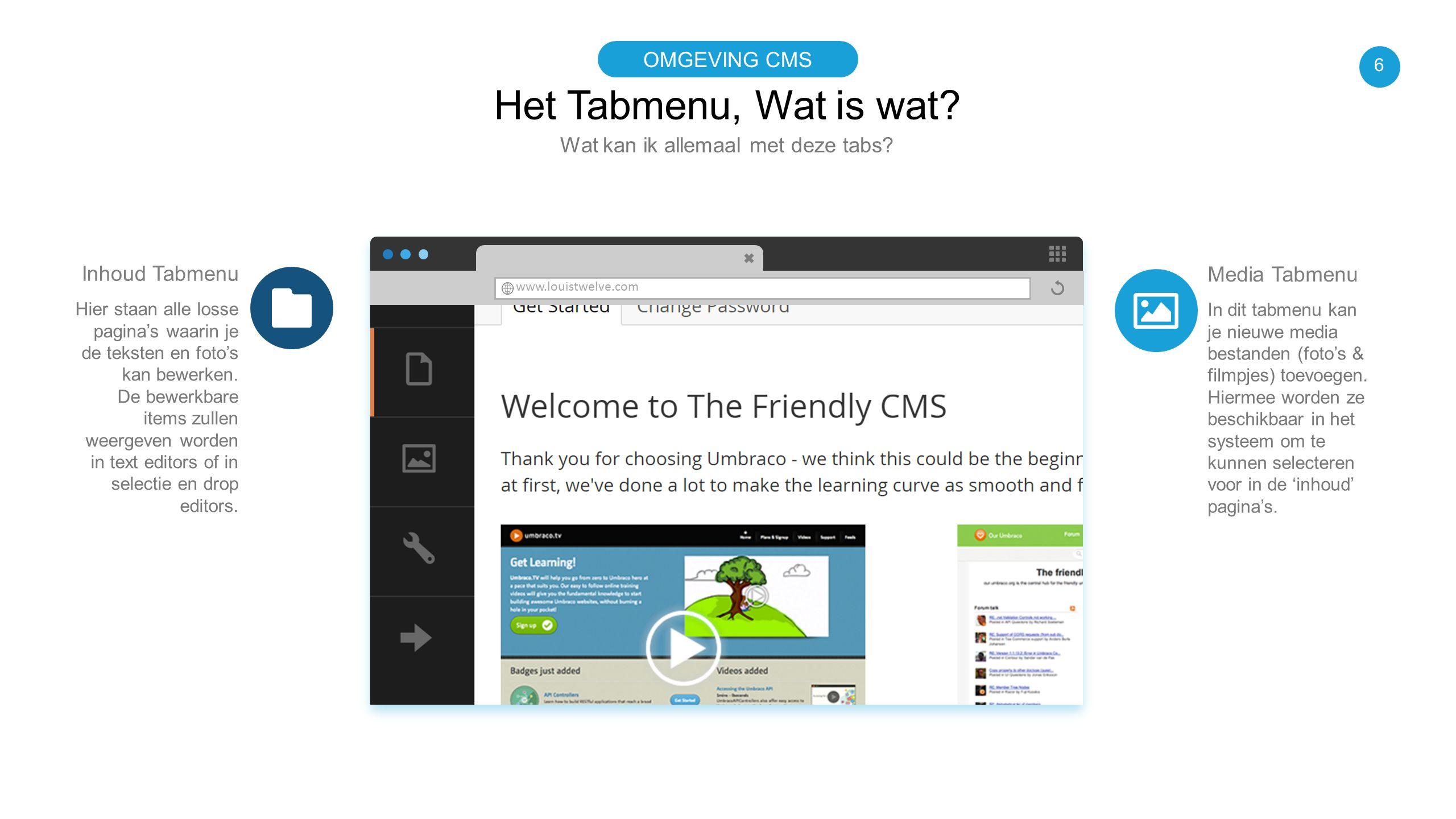 www.louistwelve.com Het Tabmenu, Wat is wat? Wat kan ik allemaal met deze tabs? OMGEVING CMS Media Tabmenu In dit tabmenu kan je nieuwe media bestande