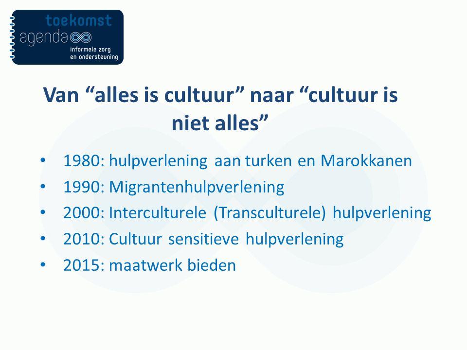 Van alles is cultuur naar cultuur is niet alles 1980: hulpverlening aan turken en Marokkanen 1990: Migrantenhulpverlening 2000: Interculturele (Transculturele) hulpverlening 2010: Cultuur sensitieve hulpverlening 2015: maatwerk bieden