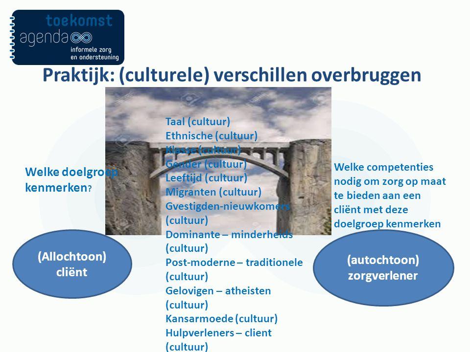 Praktijk: (culturele) verschillen overbruggen (Allochtoon) cliënt (autochtoon) zorgverlener Welke doelgroep kenmerken .