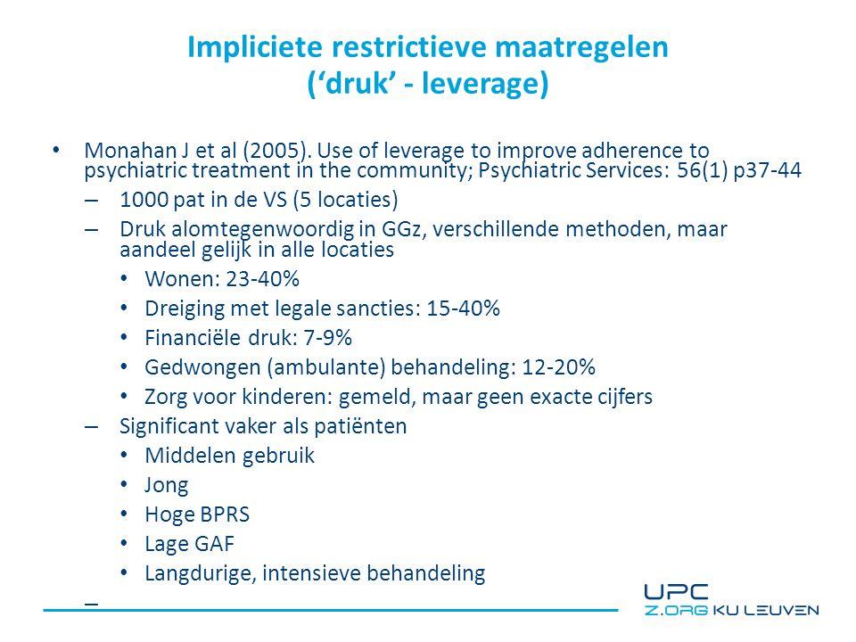 Impliciete restrictieve maatregelen ('druk' - leverage) Monahan J et al (2005).