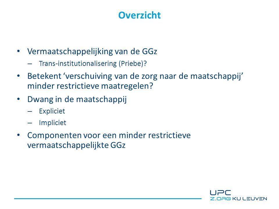 Overzicht Vermaatschappelijking van de GGz – Trans-institutionalisering (Priebe).